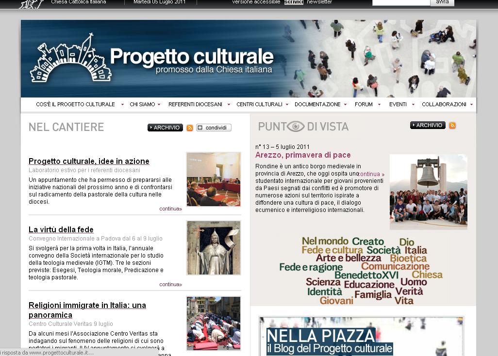 Progetto culturale, il nuovo sito
