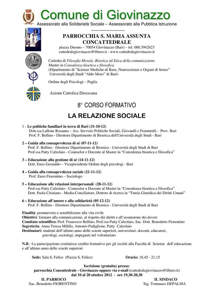 LA RELAZIONE SOCIALE - 8° CORSO FORMATIVO