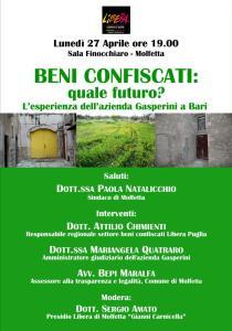 """""""BENI CONFISCATI: quale futuro?"""" – il Presidio di Libera Molfetta fa il punto sulla questione @ Sala Finocchiaro"""