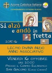 Momento cittadino di lectio divina di inizio anno associativo (RUVO) @ Centro Eucaristico San Giacomo (Ruvo)